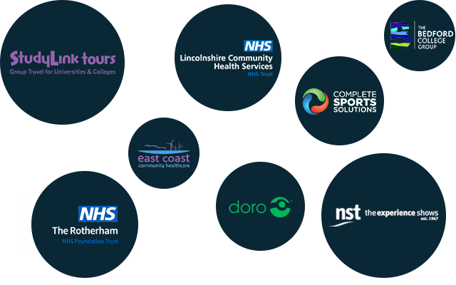 Studylink, NHS, Complete Sports Solutions, Bedford College, East Coast Community Healthcare, Doro, NST